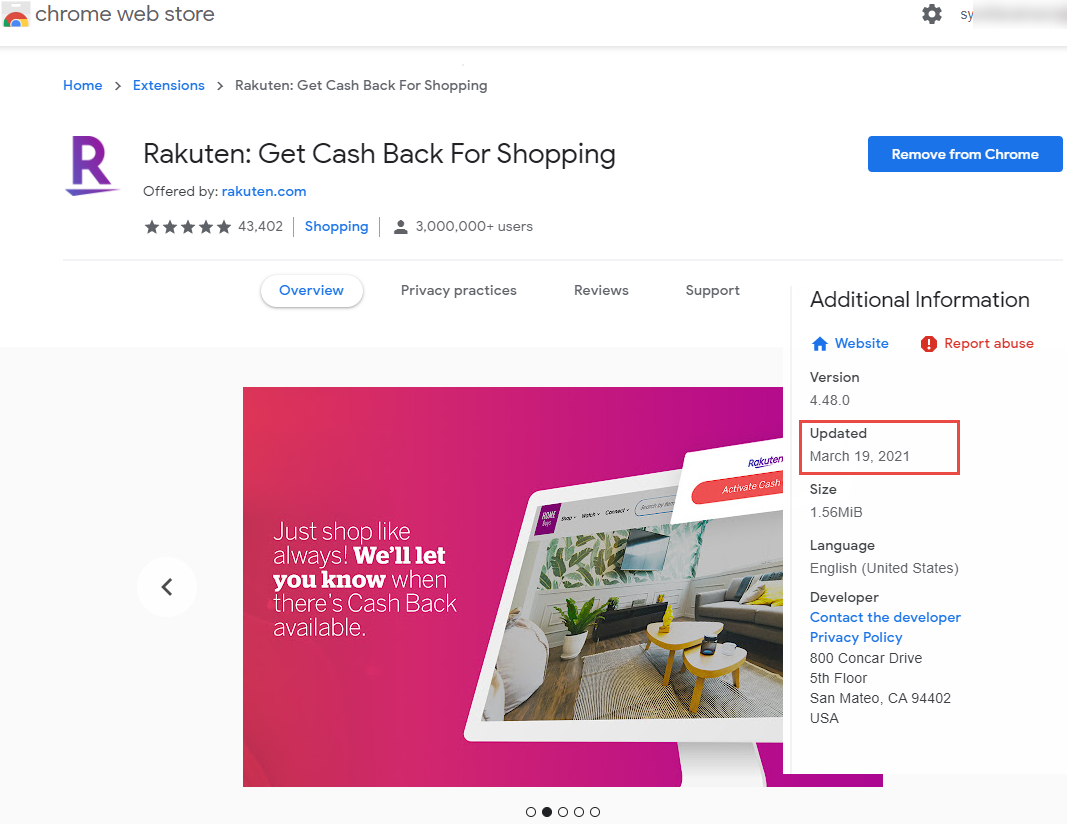 Rakuten Chrome browser extension causing performance issues in ...